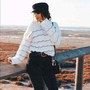 Zara White Ruffle Knit Sweater Bloggers Favorite